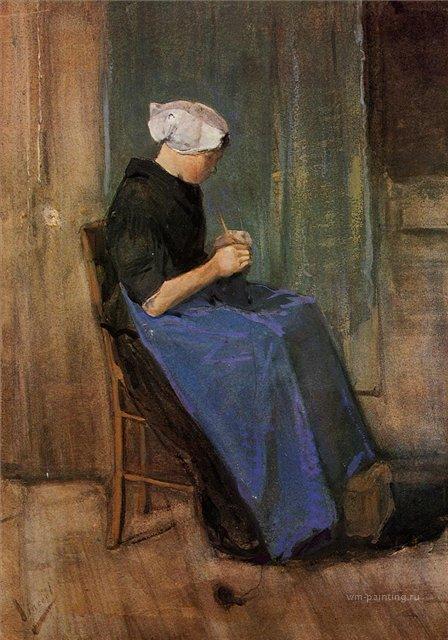 Молодая женщина за вязанием [ картина - живопись постимпрессионизм ] :: Ван Гог, описание картины - Van Gogh (Ван Гог) фото