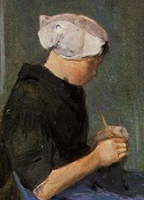 Молодая женщина за вязанием [ картина - живопись постимпрессионизм ] :: Ван Гог, описание картины - Van Gogh фото