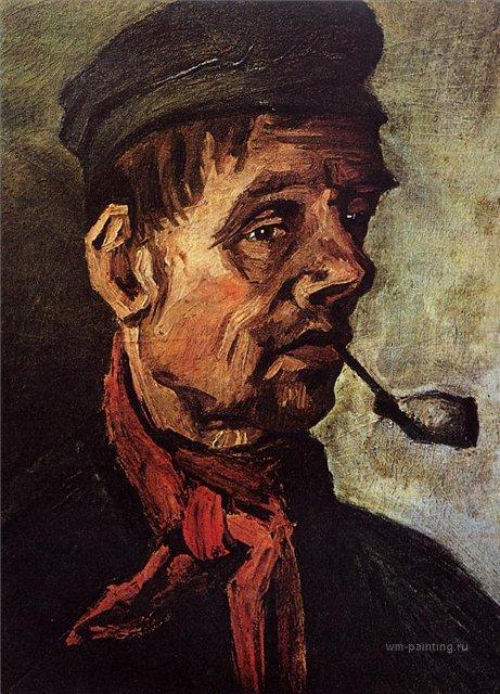Голова крестьянина с трубкой [ картина - портрет ] :: Ван Гог, описание картины - Van Gogh фото