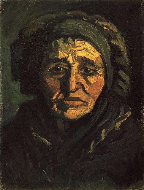 Голова крестьянки в зелёной кружевной шапке [ картина - портрет ] :: Ван Гог, описание картины - Van Gogh (Ван Гог) фото