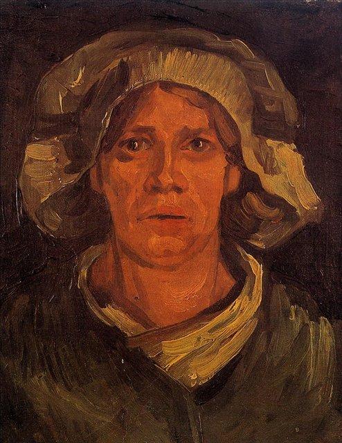 Голова крестьянки в белой шапке [ картина - портрет ] :: Ван Гог, описание картины - Van Gogh фото