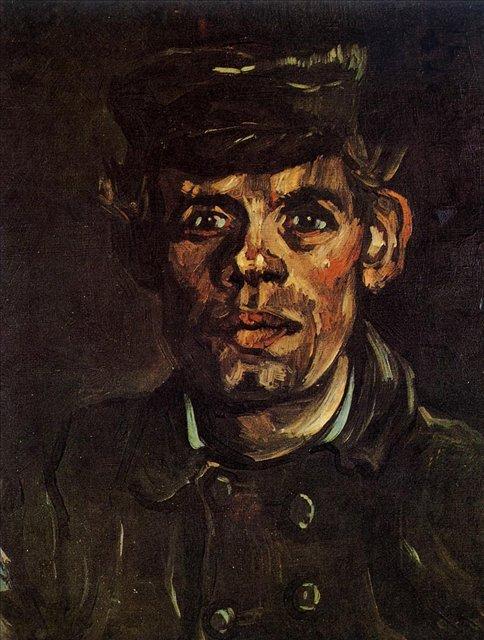Голова молодого крестьянина в шляпе [ картина - портрет ] :: Ван Гог, описание картины - Van Gogh фото