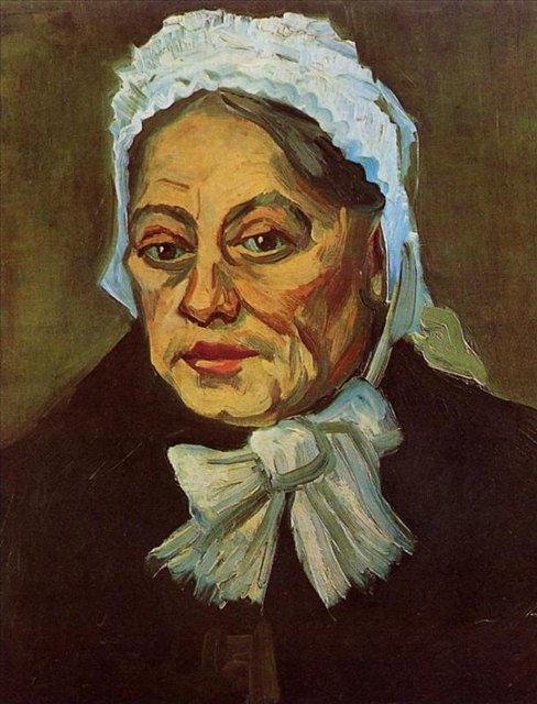 портрет Голова пожилой женщины в белом платке (Акушерка)[ картина - портрет ] :: Ван Гог, описание картины - Van Gogh (Ван Гог) фото