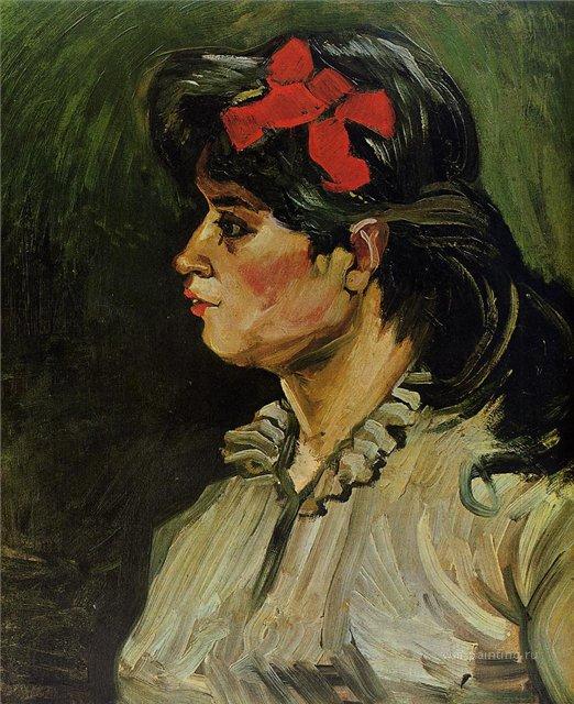 Портрет женщины с красной лентой [ картина - портрет ] :: Ван Гог, описание картины - Van Gogh фото