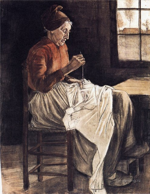 Женщина за шитьём [ картина - портрет ] :: Ван Гог, описание картины - Van Gogh фото