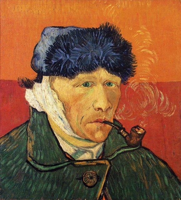 Автопортрет с отрезанным ухом и трубкой [ картина - последние работы ] :: Ван Гог, описание картины  - Van Gogh фото