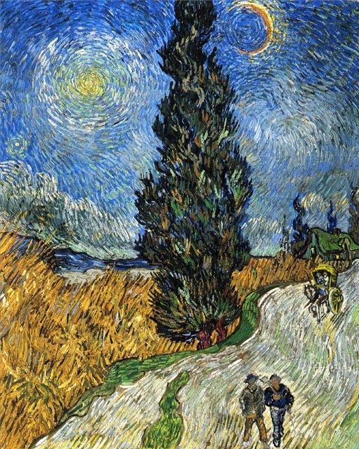 Кипарисы под звёздным небом (Дорога с кипарисами) [ картина - последние работы ] :: Ван Гог, описание картины - Van Gogh (Ван Гог) фото