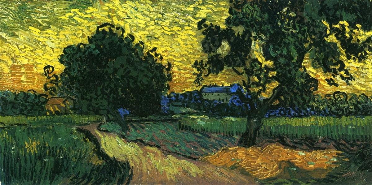 Поле и деревья[ картина - последние работы ] :: Ван Гог, описание картины - Van Gogh фото