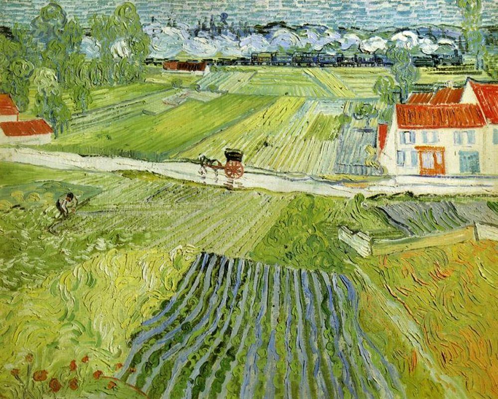 Пейзаж с повозкой и поездом[ картина - последние работы ] :: Ван Гог, описание картины - Van Gogh фото