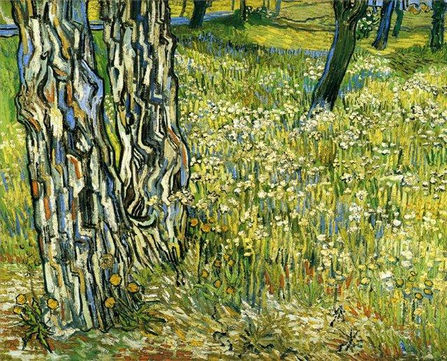 Три ствола дерева на траве [ картина - последние работы ] :: Ван Гог, описание картины - Van Gogh (Ван Гог) фото