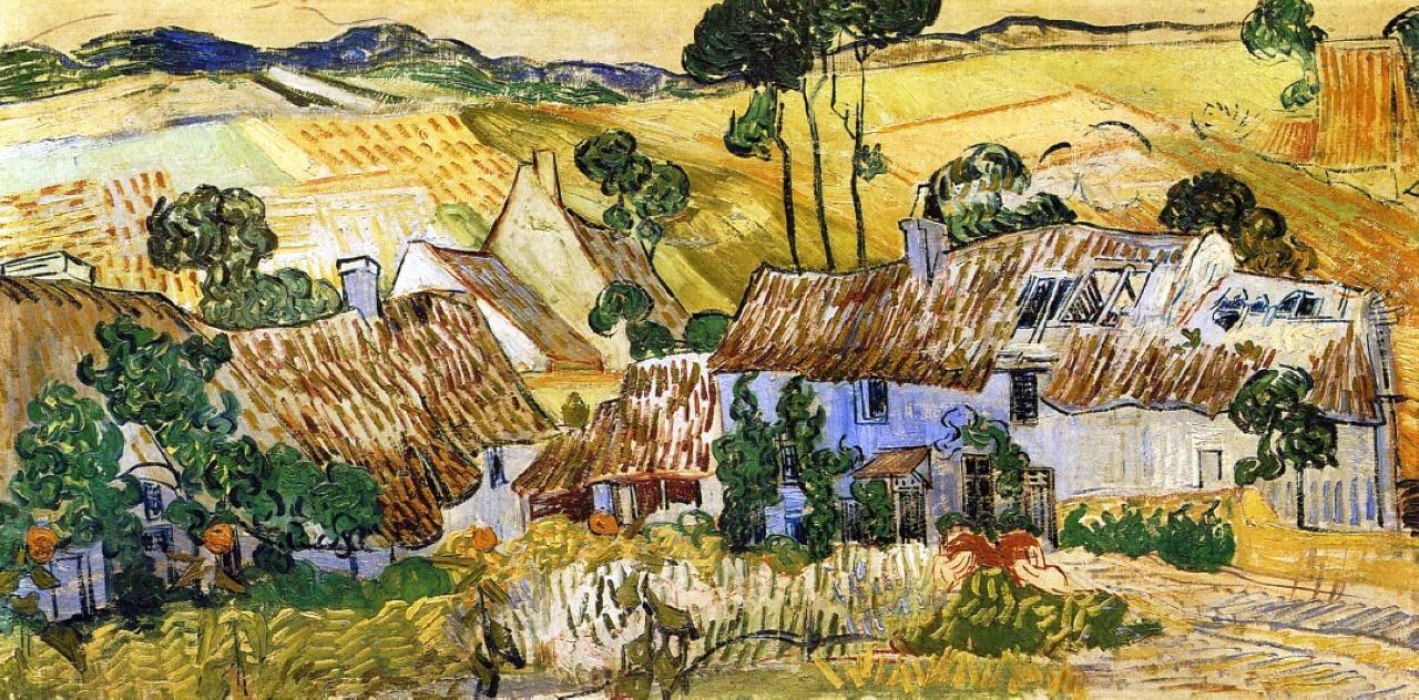 Дома с соломенными крышами на холме [ картина - последние работы ] :: Ван Гог, описание картины - Van Gogh фото