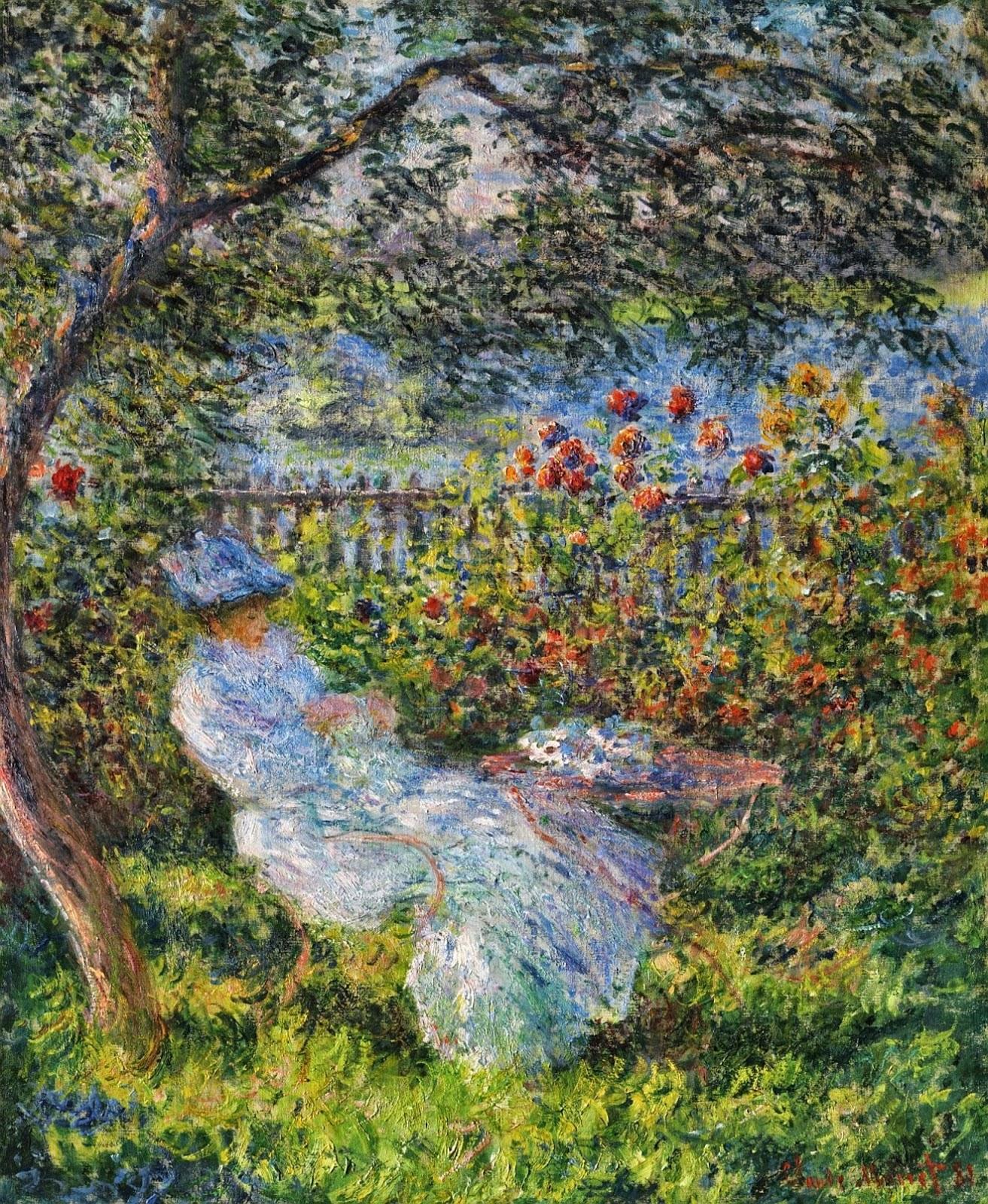 пейзаж < Алиса Ошеде в саду >:: Клод Моне, описание картины - Claude Monet фото