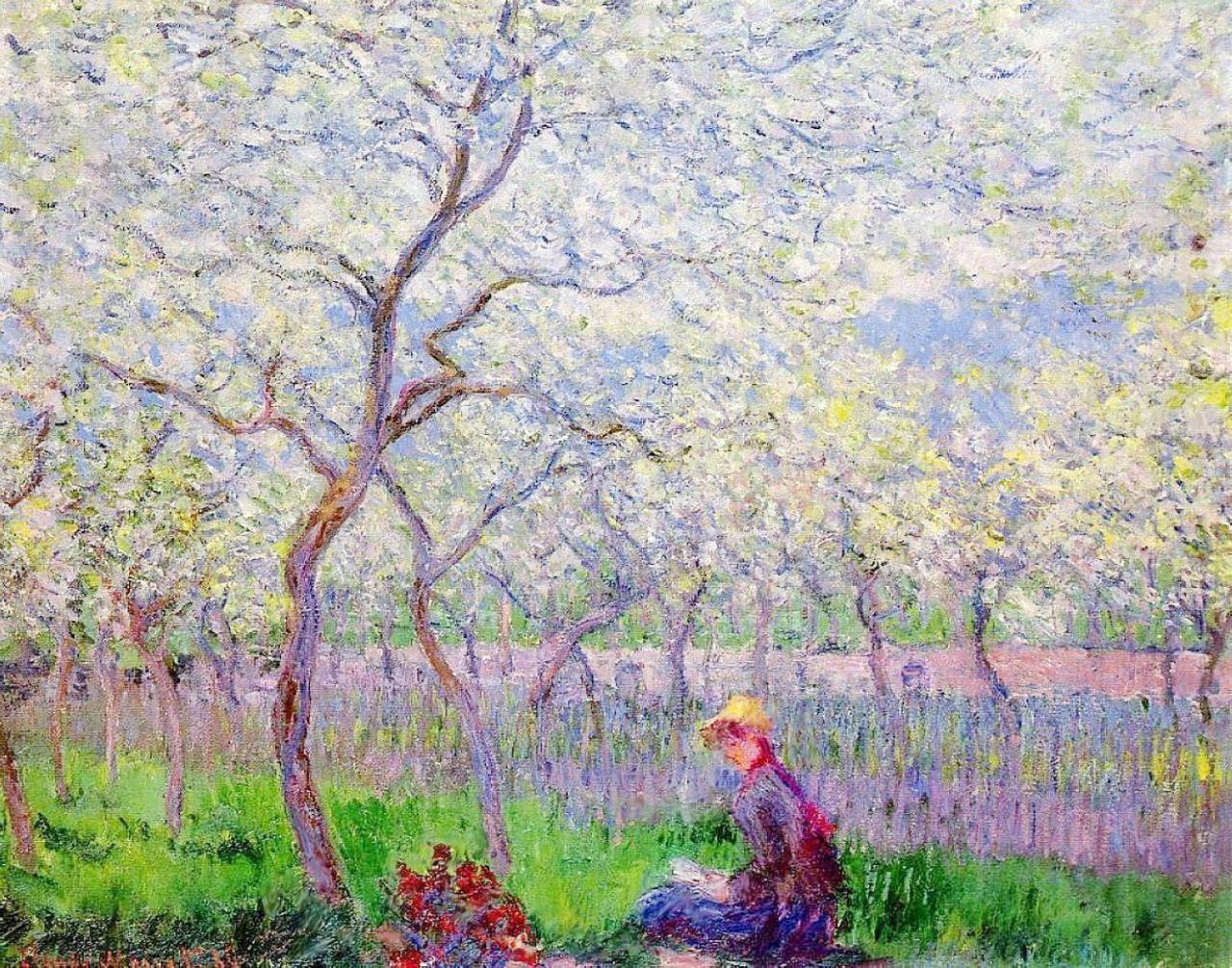 пейзаж < Сад Орхард весной >:: Клод Моне, описание картины - Claude Monet фото