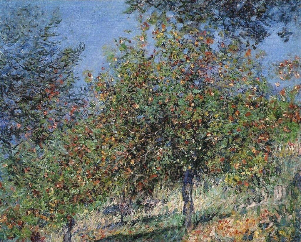 пейзаж < Яблони на холме Шантемесле >:: Клод Моне, описание картины - Моне Клод (Claude Monet) фото