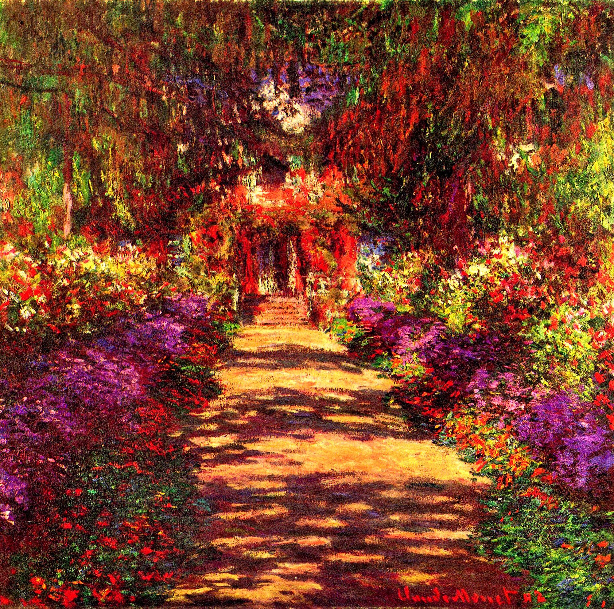 пейзаж < Тропа в саду Моне, Живерни >:: Клод Моне, описание картины - Моне Клод (Claude Monet) фото