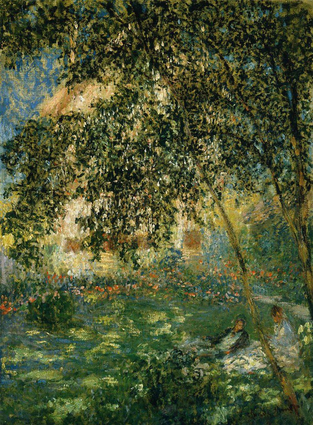 пейзаж < Отдых в саду >:: Клод Моне, описание картины - Claude Monet фото