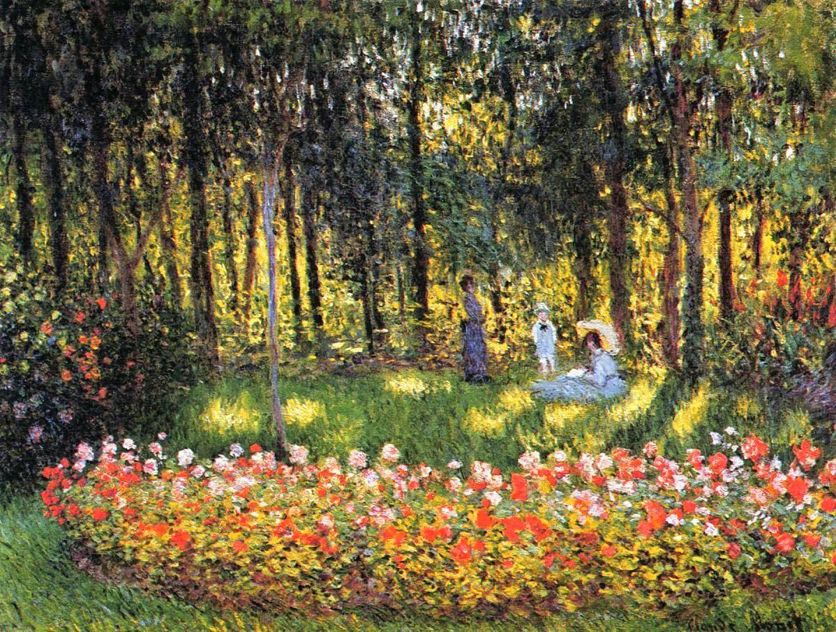 пейзаж Семья художника в саду:: Клод Моне, описание картины - Claude Monet фото