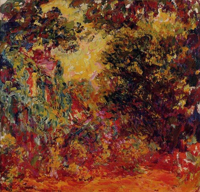 пейзаж Дом художника, вид из розового сада:: Клод Моне, описание картины - Claude Monet фото