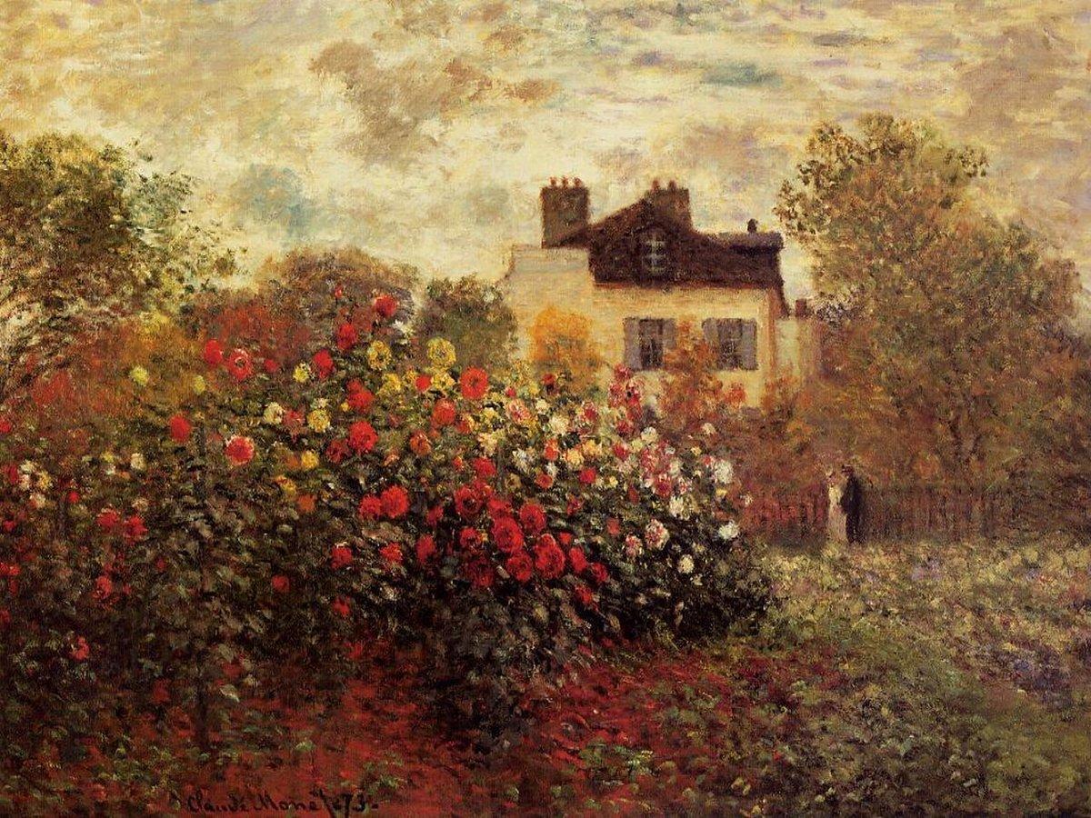 пейзаж Сад в Аржантёе (Гергины) :: Клод Моне, описание картины - Claude Monet фото