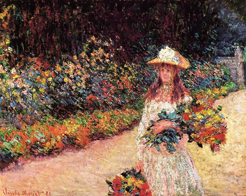 пейзаж Девочка в саду, Живерни:: Клод Моне, описание картины - Моне Клод (Claude Monet) фото