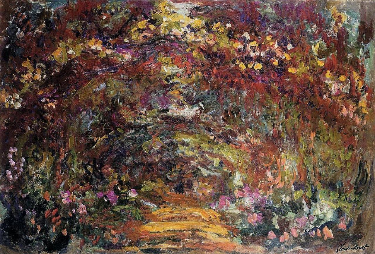 пейзаж < Тропа под оградой с розами >:: Клод Моне, описание картины - Claude Monet фото