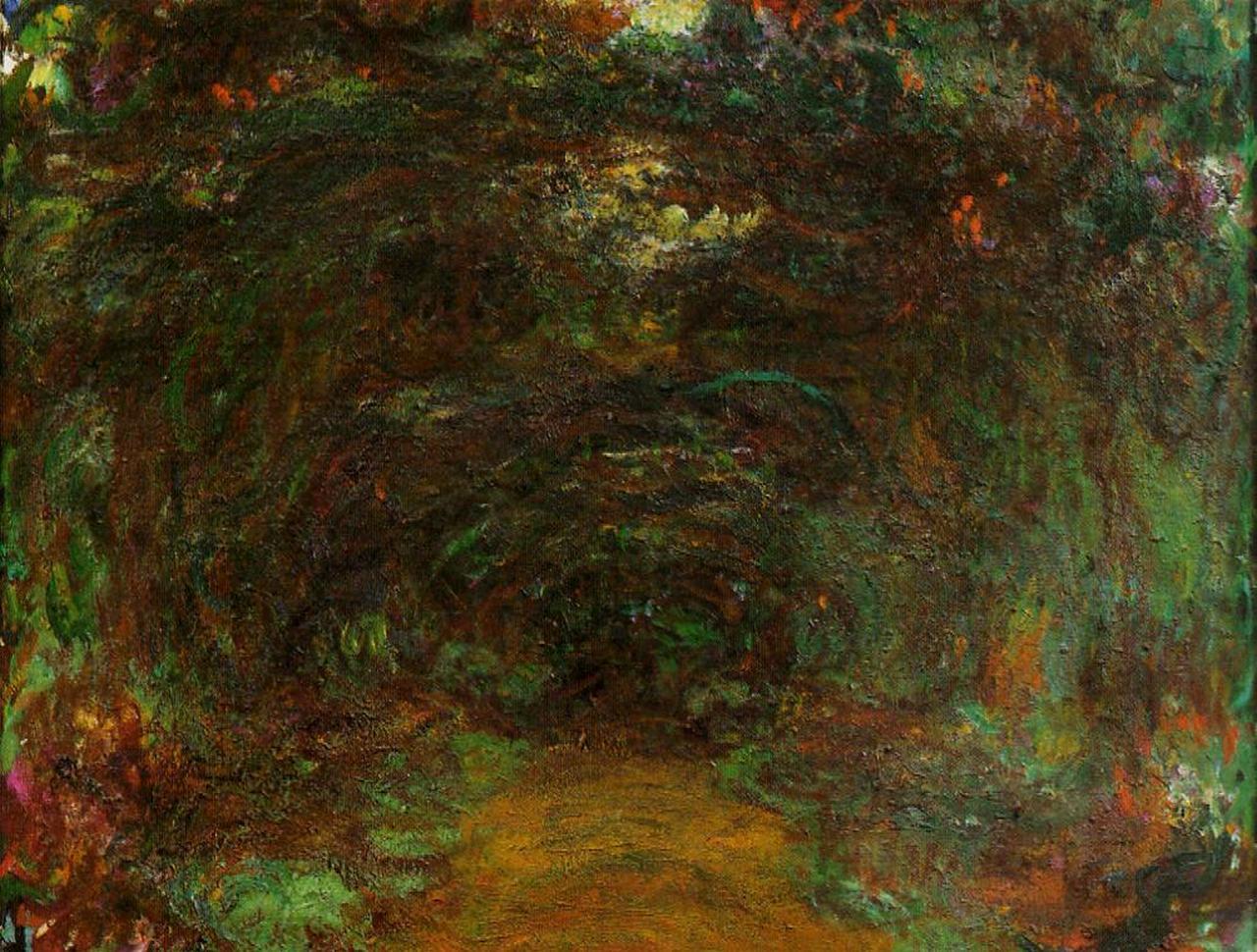 пейзаж < Тропа под оградой с розами, Живерни >:: Клод Моне, описание картины - Claude Monet фото