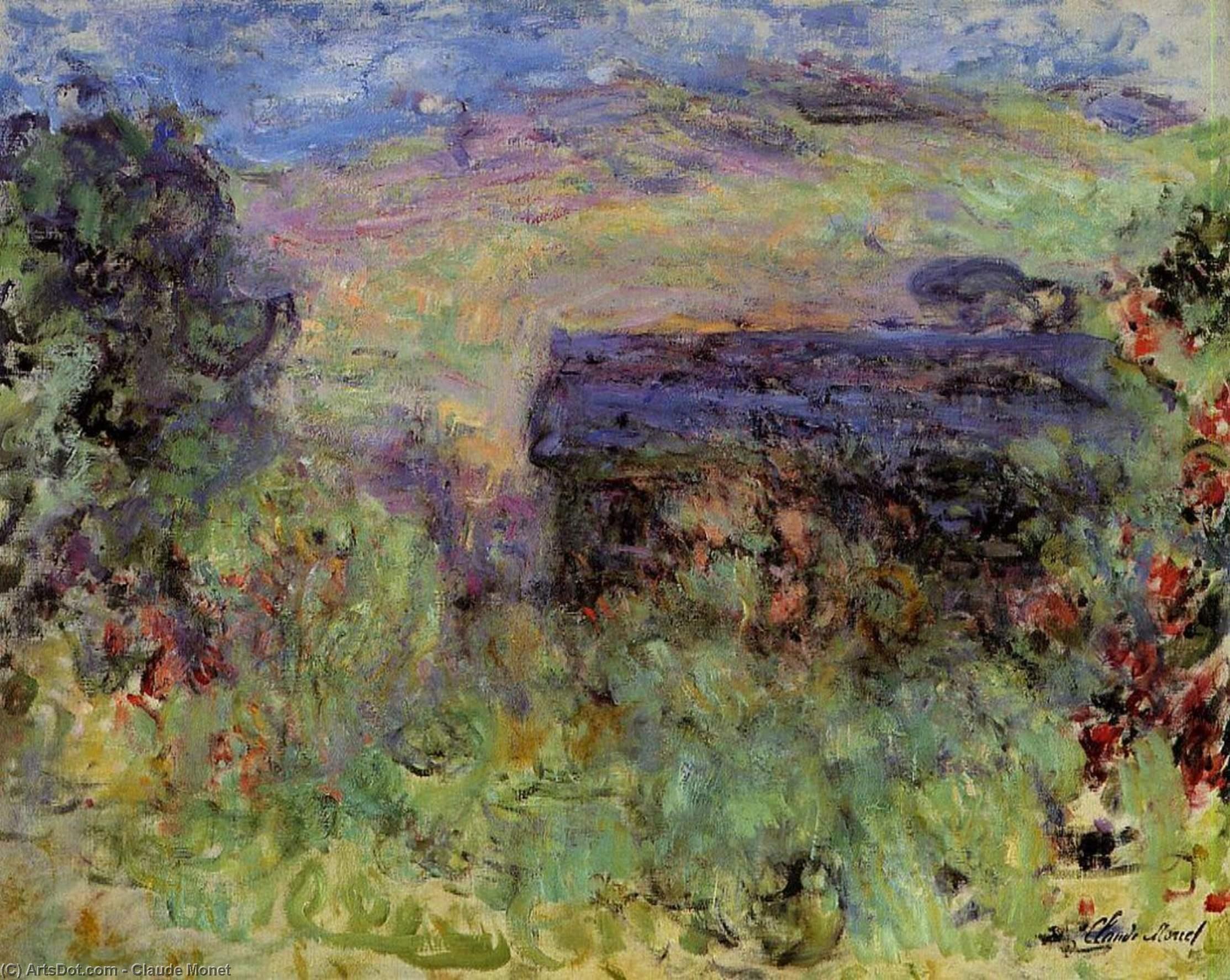 пейзаж < Вид на дома через розы >:: Клод Моне, описание картины - Claude Monet фото