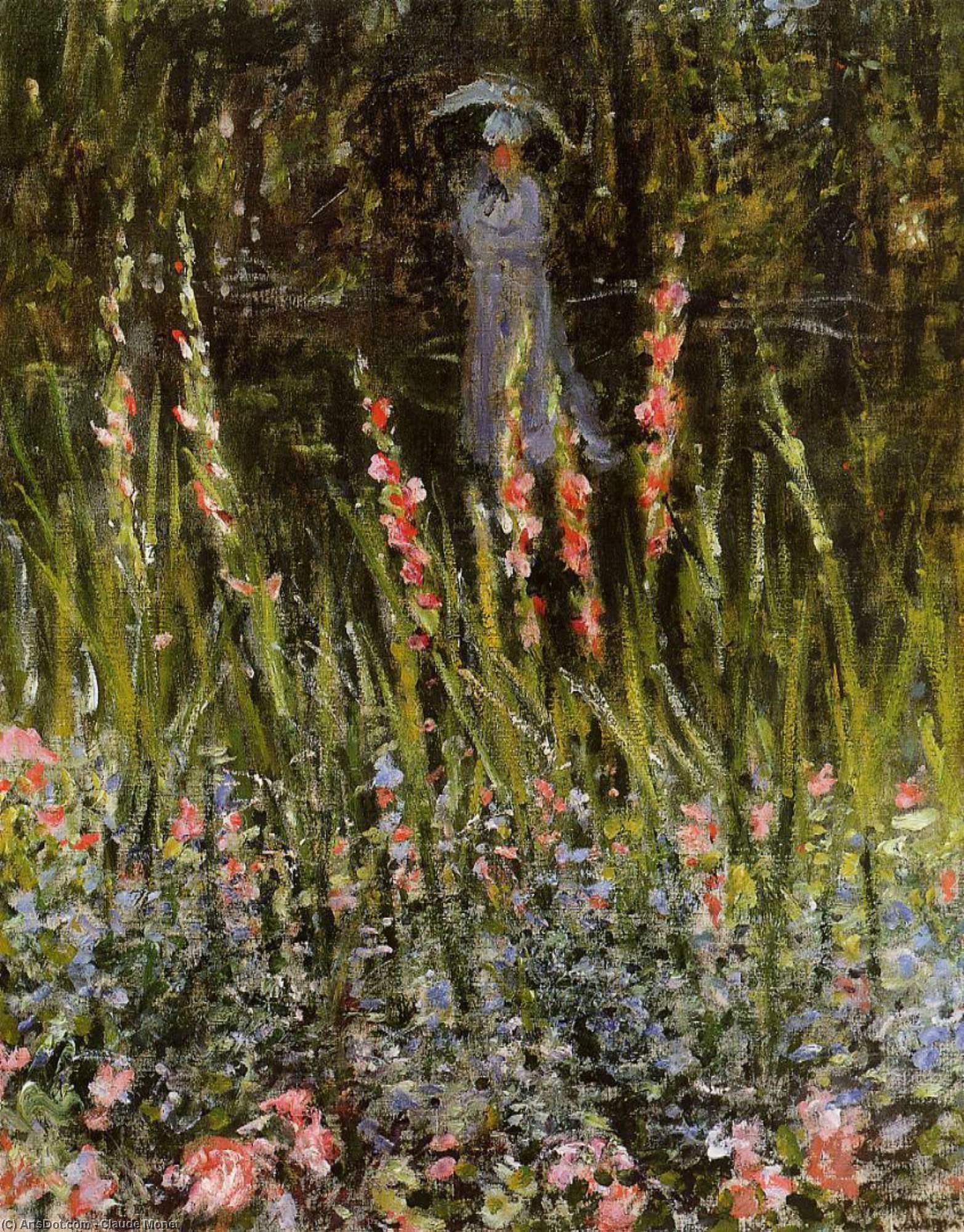 пейзаж < Сад с гладиолусами >:: Клод Моне, описание картины - Claude Monet фото