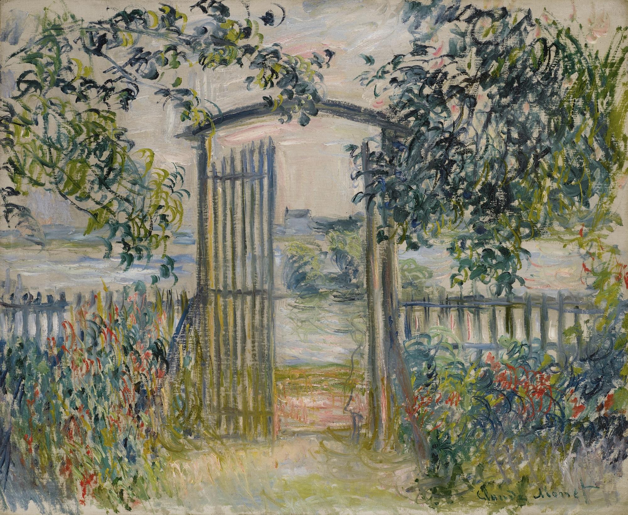 пейзаж < Садовые ворота в Ветёе >:: Клод Моне, описание картины - Моне Клод (Claude Monet) фото
