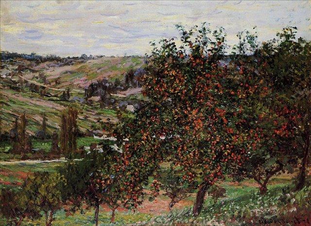 пейзаж Яблони недалеко от Ветёя :: Клод Моне, описание картины - Claude Monet фото
