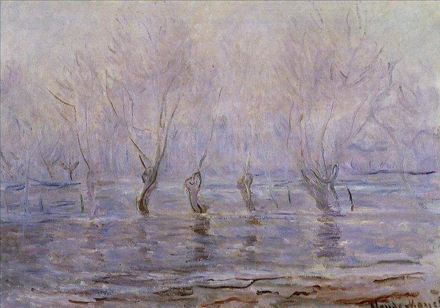 пейзаж < Половодье в Живерни >:: Клод Моне, описание картины - Моне Клод (Claude Monet) фото