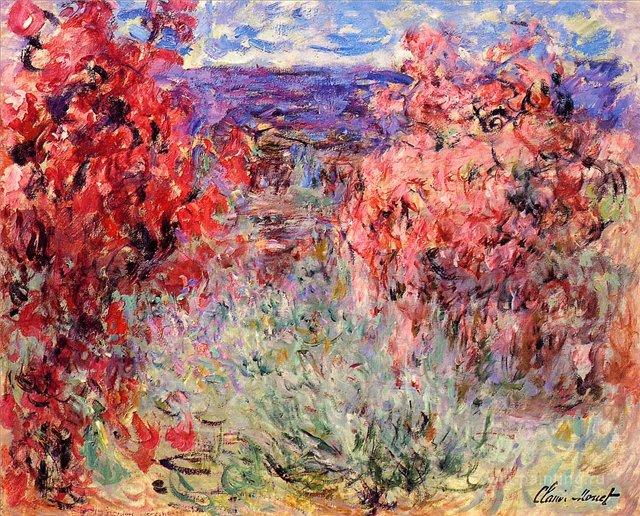 пейзаж < Цветущие деревья рядом с морским побережьем >:: Клод Моне, описание картины - Моне Клод (Claude Monet) фото