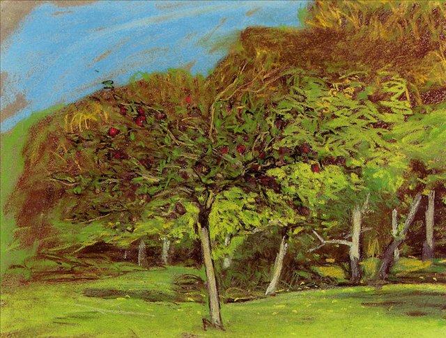 пейзаж Фруктовые деревья :: Клод Моне, описание картины - Claude Monet фото