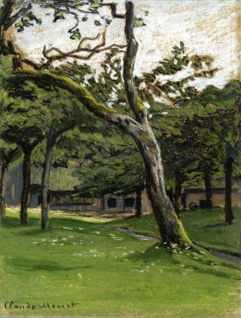 пейзаж < Ферма Норман среди деревьев >:: Клод Моне, описание картины - Claude Monet фото