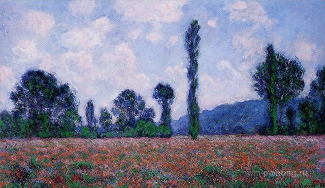 пейзаж Маковое поле, Живерни :: Клод Моне, описание картины - Claude Monet фото