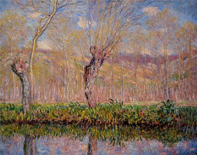 пейзаж Отмели на реке весной :: Клод Моне, описание картины - Claude Monet фото