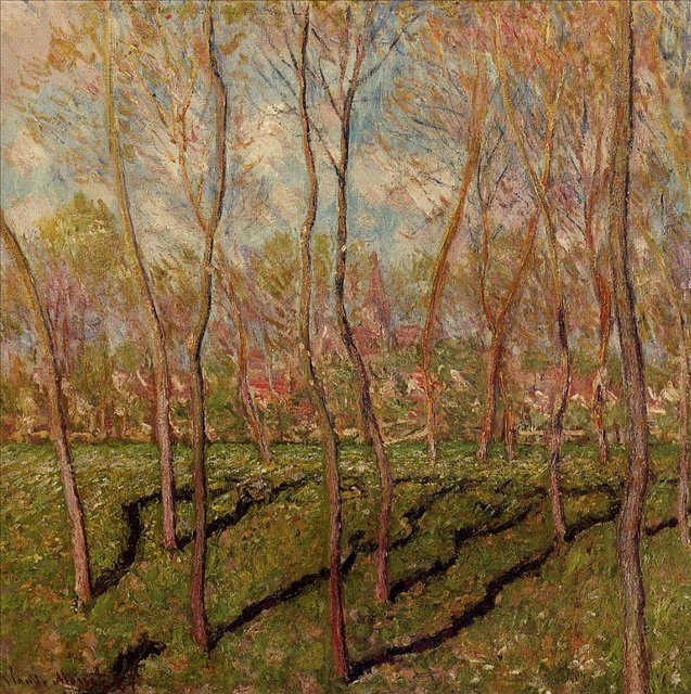 картина пейзаж Деревья зимой, виды Беннекорта :: Клод Моне, описание картины - Claude Monet фото