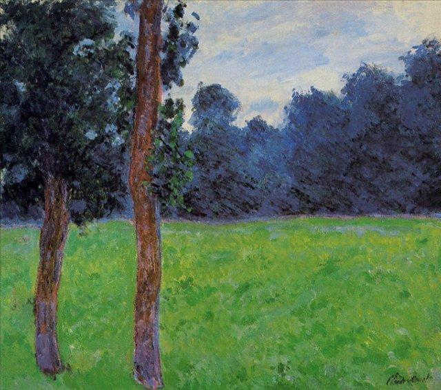 пейзаж < Два дерева на лугу >:: Клод Моне, описание картины - Claude Monet фото