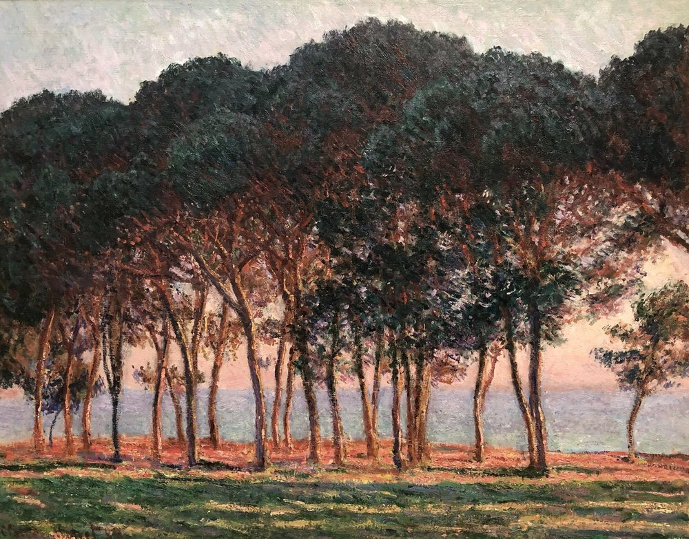 пейзаж < Под соснами, ближе к вечеру  >:: Клод Моне, описание картины - Claude Monet фото