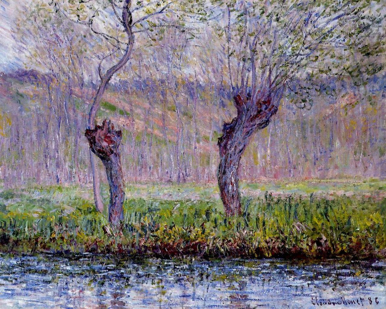 пейзаж < Ивы весной >:: Клод Моне, описание картины - Claude Monet фото