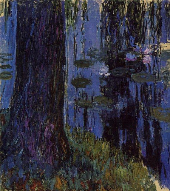 пейзаж Плакучая ива и кувшинка :: Клод Моне, описание картины - Claude Monet фото