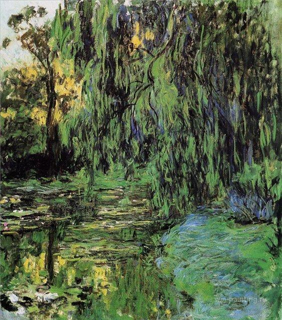 пейзаж Плакучая ива и пруд с кувшинками :: Клод Моне, описание картины, плюс статья про выбор и перевозку подарков - Claude Monet фото