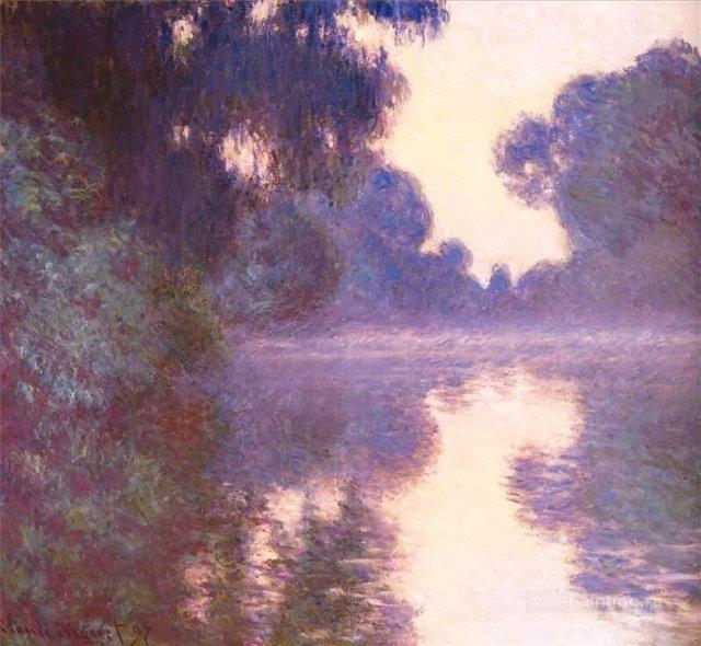 пейзаж Туманное синее утро над Сеной :: Клод Моне, описание картины - Claude Monet фото