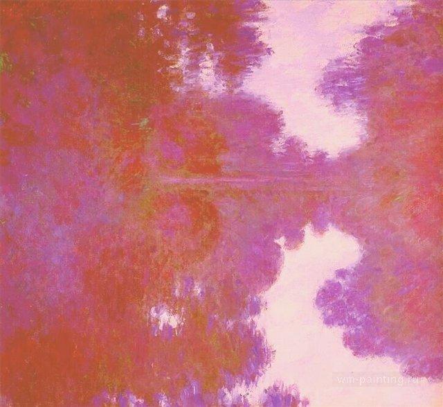 пейзаж Туманное сиреневое утро над Сеной :: Клод Моне, описание картины - Claude Monet фото