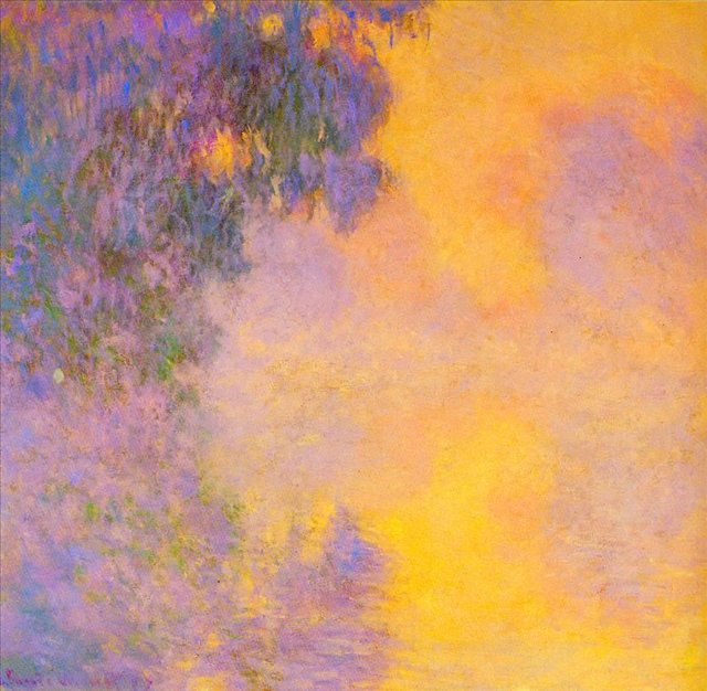 пейзаж < Туманное утро над Сеной, восход солнца >:: Клод Моне, описание картины - Claude Monet фото