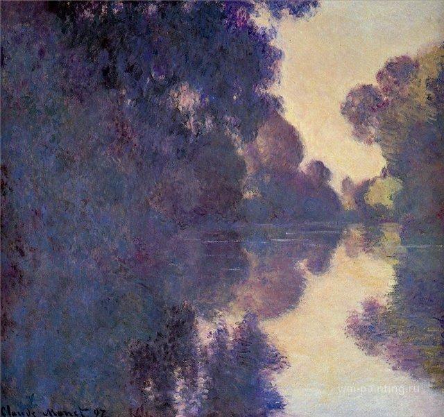 пейзаж Утро над Сеной, ясная погода :: Клод Моне, описание картины - Claude Monet фото