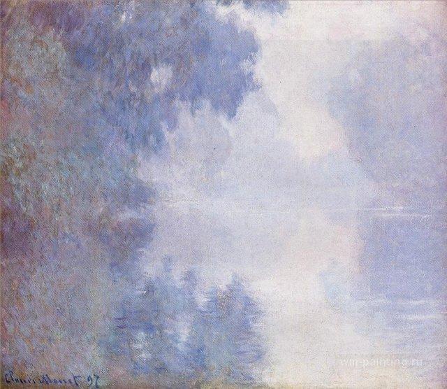 пейзаж < Туманное утро над Сеной >:: Клод Моне, описание картины - Моне Клод (Claude Monet) фото
