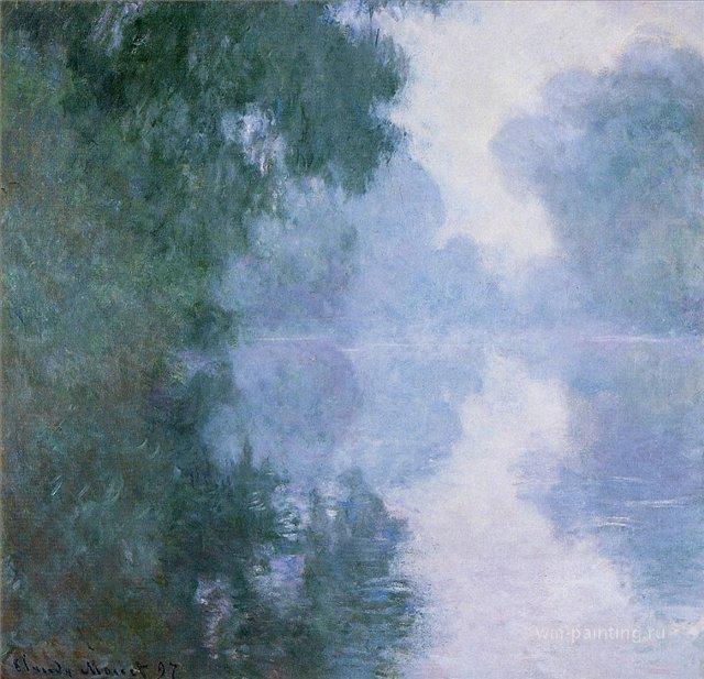 речной пейзаж Сена рядом с Живерни в тумане :: Клод Моне, описание картины - Claude Monet фото