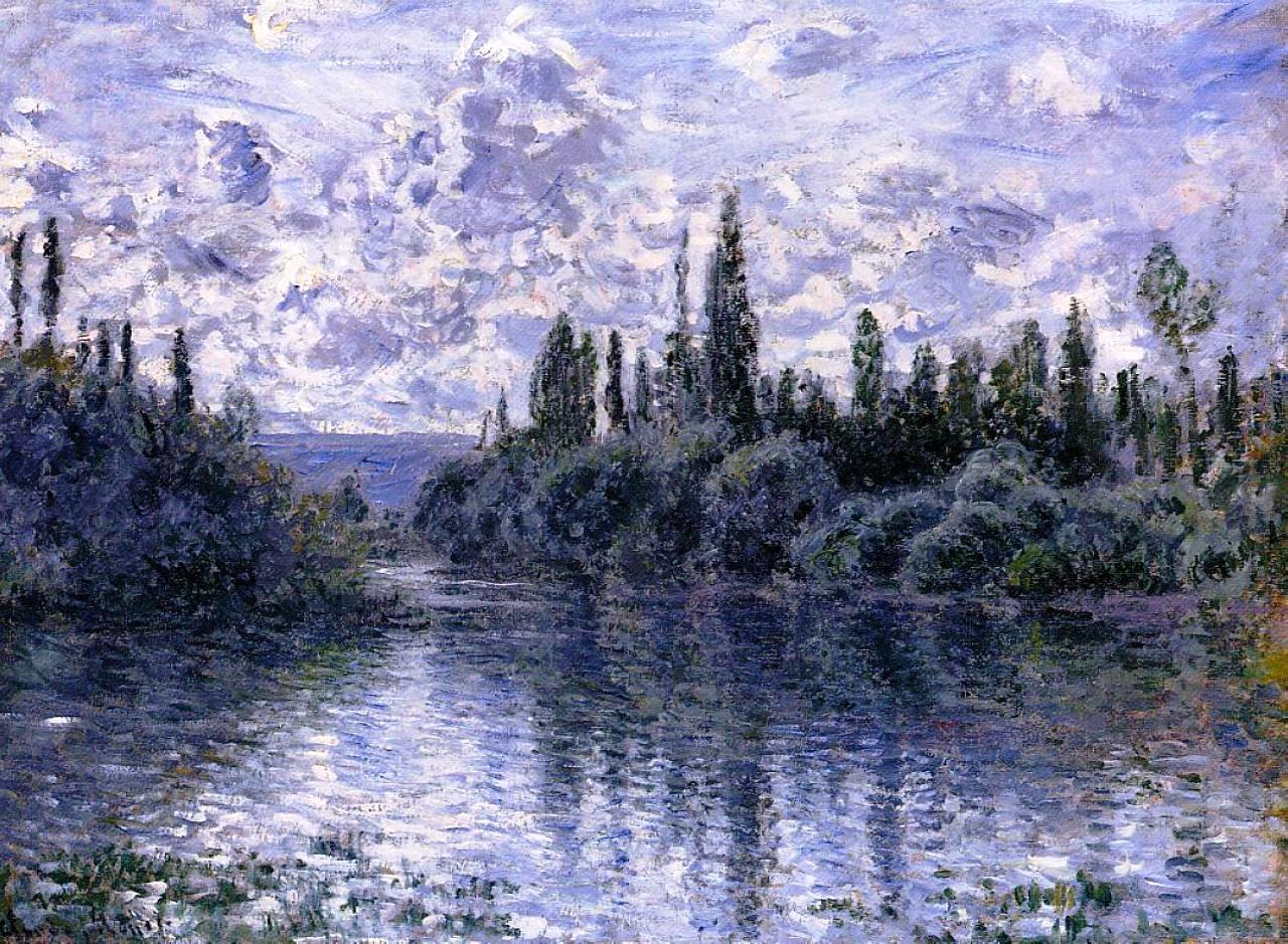 речной пейзаж < Сена рядом с Витёем >:: Клод Моне, описание картины - Claude Monet фото