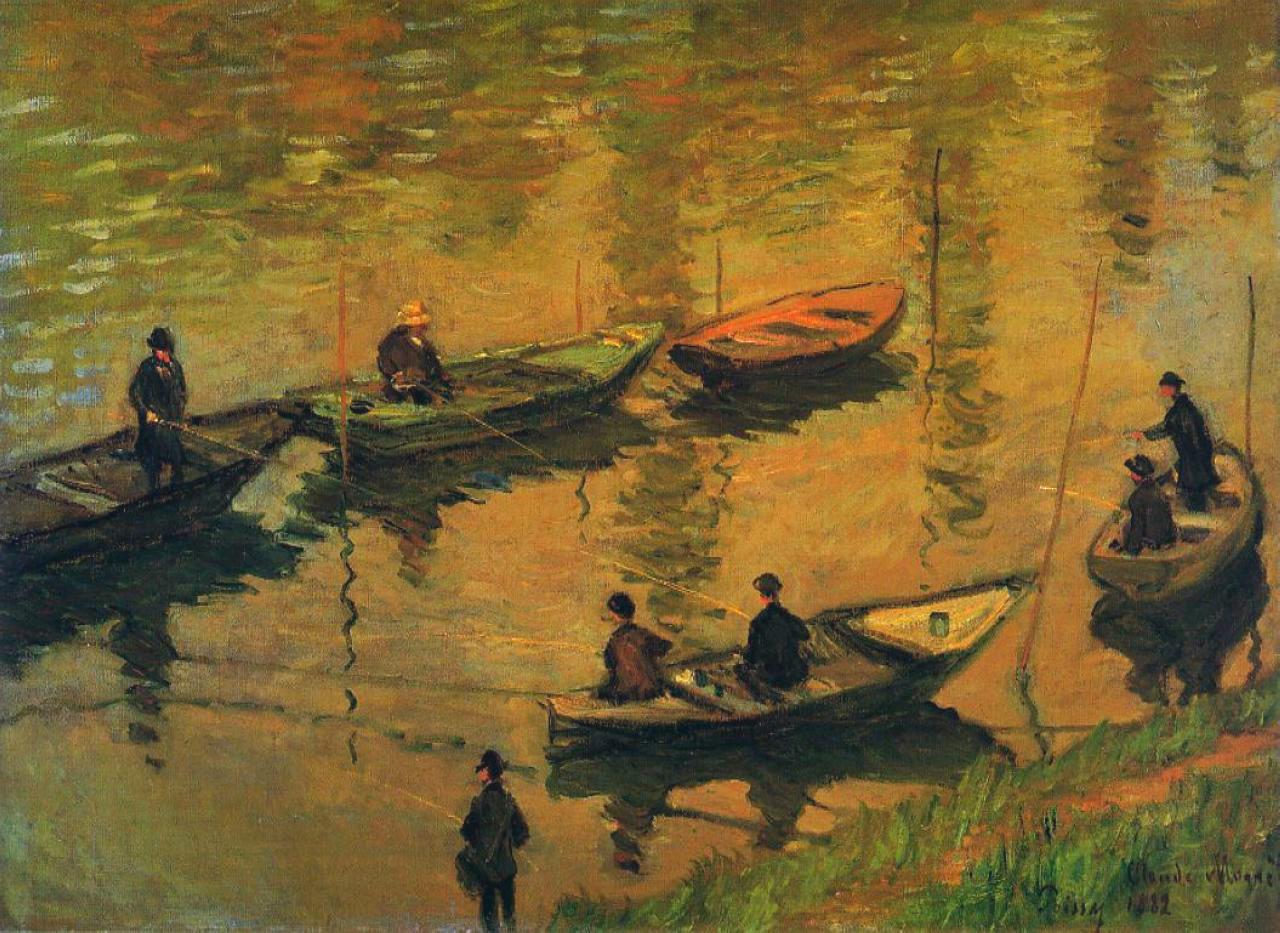 речной пейзаж < Рыбаки на реке Сене >:: Клод Моне, описание картины - Claude Monet фото